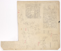 Studies of details, Sanchi,  including figures and horses, with notes